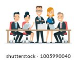flat team in meeting room at... | Shutterstock .eps vector #1005990040
