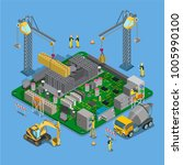 flat isometric construction... | Shutterstock .eps vector #1005990100