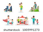 linear flat parent father with... | Shutterstock .eps vector #1005991273
