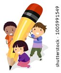 illustration of stickman kids... | Shutterstock .eps vector #1005991549