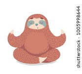 cute cartoon sloth sitting in... | Shutterstock .eps vector #1005998644