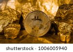 gold coin bitcoin and a mound... | Shutterstock . vector #1006005940