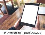 mockup image of hands holding... | Shutterstock . vector #1006006273