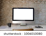 workspace mockup with desktop... | Shutterstock . vector #1006010080
