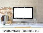 workspace desktop mockup ... | Shutterstock . vector #1006010113
