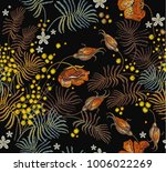 embroidery vintage roses and... | Shutterstock .eps vector #1006022269