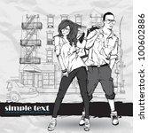 vector illustration of fashion... | Shutterstock .eps vector #100602886