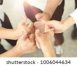 human hands showing sign of... | Shutterstock . vector #1006044634