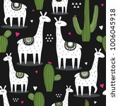 backdrop with lamas  cactuses ... | Shutterstock .eps vector #1006045918