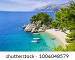 Beautiful beach near Brela town, Dalmatia, Croatia. Makarska riviera, famous landmark and travel touristic destination in Europe - stock photo