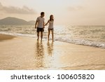 attractive young couple on the... | Shutterstock . vector #100605820