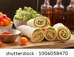 fresh tortilla wraps with ham... | Shutterstock . vector #1006058470