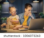 young mother with toddler child ... | Shutterstock . vector #1006073263