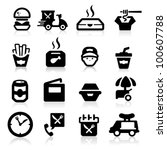 fast food icons set elegant...