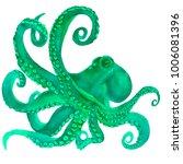 pink watercolor octopus. sea... | Shutterstock . vector #1006081396