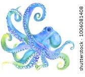 pink watercolor octopus. sea... | Shutterstock . vector #1006081408