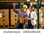 manager and warehouse worker... | Shutterstock . vector #1006100134