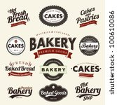 vintage retro bakery badges and ... | Shutterstock .eps vector #100610086