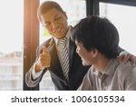 great job  the boss encourages...   Shutterstock . vector #1006105534