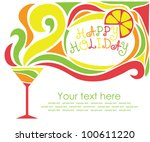 happy holiday card with... | Shutterstock .eps vector #100611220