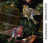 embroidery birds and golden... | Shutterstock .eps vector #1006141210