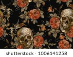 embroidery vintage skull and... | Shutterstock .eps vector #1006141258