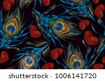 embroidery peacock feathers and ... | Shutterstock .eps vector #1006141720
