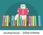 bookshelf with fantasy clever... | Shutterstock .eps vector #1006159696