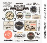 Old style Coffee frames and labels | Retro floral ornaments | Vintage ribbons, borders and other elements collection for Coffee design | eps10 vector set
