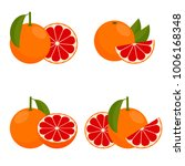 icon grapefruit. set with whole ...   Shutterstock . vector #1006168348