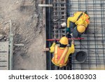 aerial view of construction worker in construction site