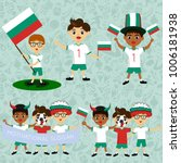 set of boys with national flags ... | Shutterstock .eps vector #1006181938