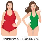 before and after weight loss... | Shutterstock .eps vector #1006182973