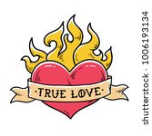 Flaming Heart Tattoo With...