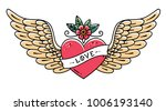 tattoo heart with wings  flower ... | Shutterstock .eps vector #1006193140