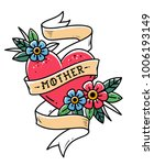 isolated tattoo red heart with... | Shutterstock .eps vector #1006193149