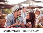 happy young couple enjoying... | Shutterstock . vector #1006195624