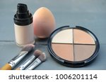 make up brushes and cosmetics ... | Shutterstock . vector #1006201114
