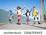 joyful kids rollerblading... | Shutterstock . vector #1006209643