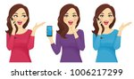 surprised woman with phone | Shutterstock .eps vector #1006217299