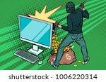 online hacker steals dollar... | Shutterstock .eps vector #1006220314