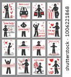 doodle greeting cards set with... | Shutterstock .eps vector #1006221868