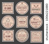 vintage romantic colored stamps ... | Shutterstock .eps vector #1006221880