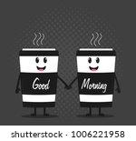two happy cartoon cups of... | Shutterstock .eps vector #1006221958