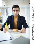 hungry businessman with mustard ... | Shutterstock . vector #1006223713
