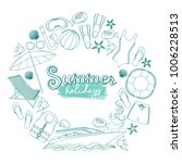 set of beach summer holidays... | Shutterstock .eps vector #1006228513