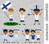Set of boys with national flags of Finland. Blanks for the day of the flag, independence, nation day and other public holidays. The guys in sports form with the attributes of the football team
