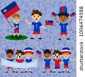 set of boys with national flags ... | Shutterstock .eps vector #1006474588