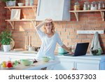 tired woman from home office... | Shutterstock . vector #1006537303