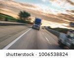 big 18 wheeler semi truck on... | Shutterstock . vector #1006538824